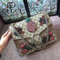 Gucci 400235-013 專櫃原單新款Dionysus系列菠蘿蜜水鉆刺繡酒神包