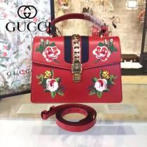 Gucci 431665-05 專櫃時尚新款Sylvie系列花朵刺绣限量版手提單肩包