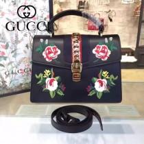 Gucci 431665-010 專櫃時尚新款Sylvie系列花朵刺绣限量版手提單肩包