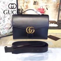 Gucci 414483-01 專櫃時尚新款黑色全皮手提單肩包