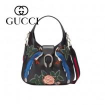 Gucci 444072-06 人氣熱銷限量走秀款純手工刺繡dionysus系列純色小牛皮手提肩背包