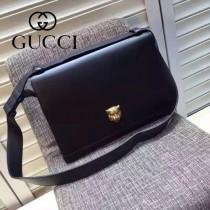 Gucci 418654-01 專櫃時尚新款虎頭系列男士牛皮中號郵差包