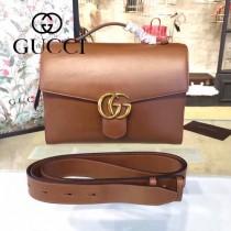Gucci 414483 專櫃時尚新款棕色全皮手提單肩包
