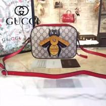 Gucci 412008-02 歐美時尚新款拼色皮小蜜蜂刺繡單肩斜背包
