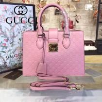 Gucci 428207-01 專櫃時尚新款全牛皮壓紋手提斜挎包