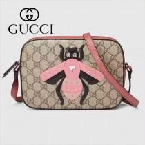 Gucci 412008-01 歐美時尚新款拼色皮小蜜蜂刺繡單肩斜背包