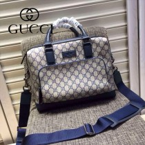 Gucci 429019-02 專櫃時尚新款PVC配牛皮男士公文包