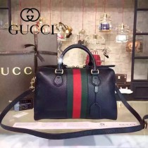 Gucci 415728-01 專櫃時尚新款荔枝紋牛皮波斯頓手提包水桶包