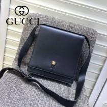 Gucci 418655-01 專櫃時尚新款虎頭系列男士牛皮小號郵差包