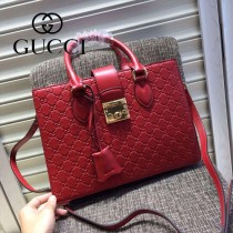Gucci 428207-03 專櫃時尚新款全牛皮壓紋手提斜挎包