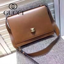 Gucci 418654 專櫃時尚新款虎頭系列男士牛皮中號郵差包