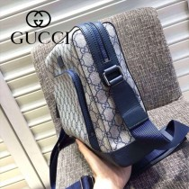 Gucci 429018 專櫃時尚新款PVC配牛皮男士斜背包