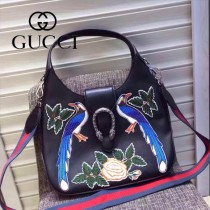 Gucci 444072-07 人氣熱銷限量走秀款純手工刺繡dionysus系列純色小牛皮手提肩背包