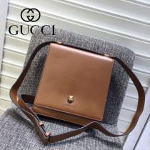 Gucci 418655 專櫃時尚新款虎頭系列男士牛皮小號郵差包