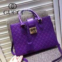 Gucci 428207-02 專櫃時尚新款全牛皮壓紋手提斜挎包