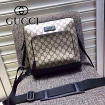 Gucci 429018-01 專櫃時尚新款PVC配牛皮男士斜背包