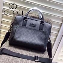 Gucci 429019-01 專櫃時尚新款PVC配牛皮男士公文包