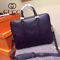 GUCCI 351850 時尚商務男士黑色全皮手提單肩包電腦包