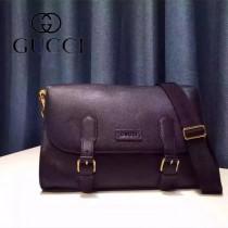 GUCCI 351850-2 時尚商務男士黑色全皮單肩斜挎包