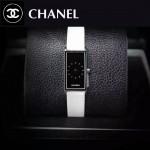 CHANEL-01-5 時尚女士新款白色配黑底316精鋼錶殼進口石英腕錶