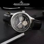 JAEGER-048-11 時尚男士閃亮銀配黑底真牛皮錶帶全自動機械腕錶