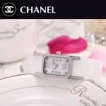 CHANEL-03-2 時尚優雅閃亮銀白色錶帶配白底316精鋼八角錶殼設計石英腕錶