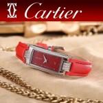 CARTIER-304-6 潮流最新閃亮銀紅色配紅底316精鋼錶殼瑞士石英腕錶
