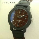 Bvlgari-95-3 時尚新款Carbon Gold褐色錶盤碳材質錶殼編織錶帶腕錶
