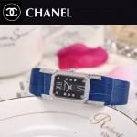 CHANEL-03-11 時尚優雅閃亮銀藍色錶帶配黑底316精鋼八角錶殼設計石英腕錶