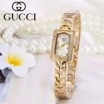 GUCCI-073-5 歐美百搭土豪金鑲鑽白底316精鋼錶殼進口石英腕錶