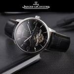 JAEGER-048-6 時尚男士閃亮銀配黑底真牛皮錶帶全自動機械腕錶