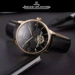 JAEGER-048-3 時尚男士玫瑰金配黑底真牛皮錶帶全自動機械腕錶