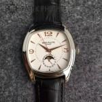 PATEK PHILIPPE-0143-2 型男必備玫瑰金藍寶石鏡面日月星辰2824瑞士自動機械腕錶