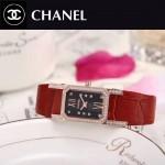CHANEL-03-6 時尚優雅玫瑰金紅色錶帶配黑底316精鋼八角錶殼設計石英腕錶