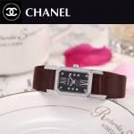 CHANEL-03-12 時尚優雅閃亮銀褐色錶帶配黑底316精鋼八角錶殼設計石英腕錶