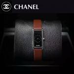 CHANEL-01-4 時尚女士新款褐色配黑底316精鋼錶殼進口石英腕錶