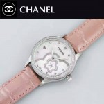 CHANEL-02-2 名媛必備閃亮銀鑲鑽粉色錶帶旋轉設計8218全自動機械腕錶