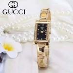 GUCCI-073-6 歐美百搭土豪金鑲鑽黑底316精鋼錶殼進口石英腕錶
