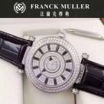 Franck Muller-26-2 名媛摯愛神秘時間系列閃亮銀滿天星鑲鑽2836全自動機機械腕錶