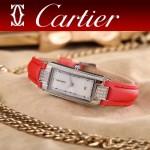 CARTIER-304-10 潮流最新閃亮銀紅色配白底316精鋼錶殼瑞士石英腕錶