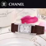 CHANEL-03-21 時尚優雅閃亮銀褐色錶帶配白底316精鋼八角錶殼設計石英腕錶