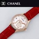 CHANEL-02-5 名媛必備玫瑰金鑲鑽紅色錶帶旋轉設計8218全自動機械腕錶