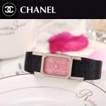 CHANEL-03-16 時尚優雅玫瑰金黑色錶帶配粉底316精鋼八角錶殼設計石英腕錶