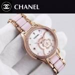 CHANEL-02 名媛必備玫瑰金鑲鑽陶瓷旋轉設計8218全自動機械腕錶