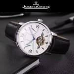 JAEGER-048-7 時尚男士閃亮銀配白底真牛皮錶帶全自動機械腕錶