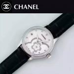 CHANEL-02-6 名媛必備閃亮銀鑲鑽黑色錶帶旋轉設計8218全自動機械腕錶