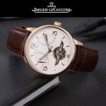JAEGER-048 時尚男士玫瑰金配白底真牛皮錶帶全自動機械腕錶