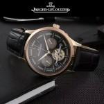 JAEGER-048-10 時尚男士玫瑰金配黑底真牛皮錶帶全自動機械腕錶