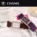 CHANEL-03-17 時尚優雅玫瑰金紫色錶帶配黑底316精鋼八角錶殼設計石英腕錶