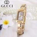 GUCCI-073-2 歐美百搭土豪金鑲鑽銀底316精鋼錶殼進口石英腕錶